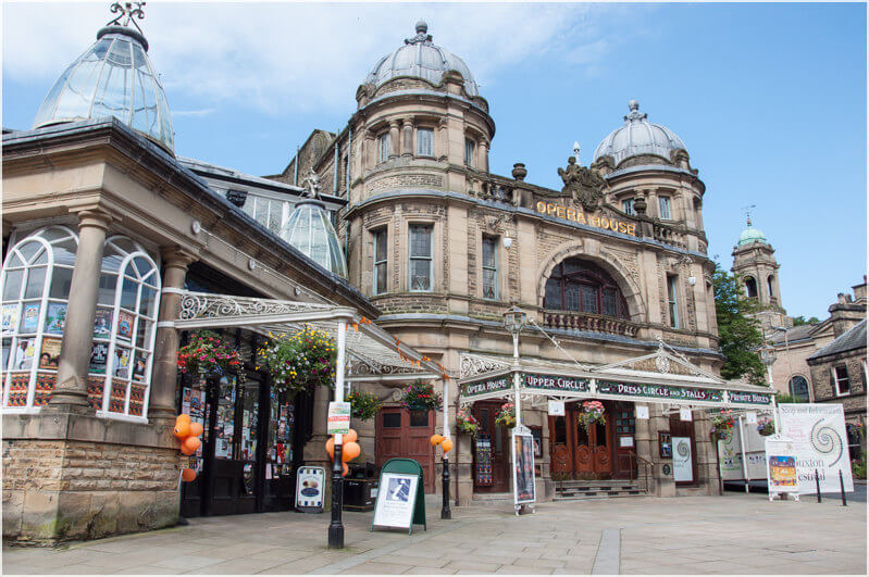 View of the Buxton Opera House and forecourt