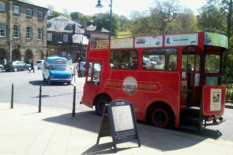 """Wonder of the Peak"" Discover Buxton tram at its stop by the Buxton Opera House. Image courtesy of Ali Quas-Cohen."