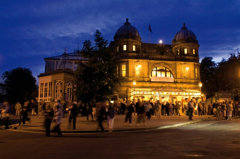 Image of the Buxton Opera House at night during the Buxton International Festival.