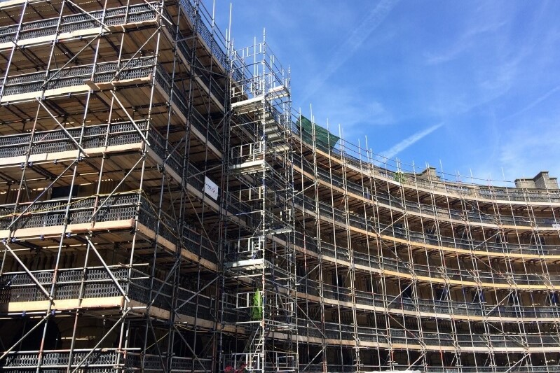 scaffolding up on the front of the Crescent