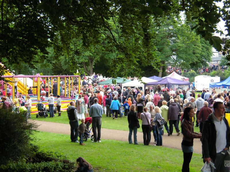 Crowds at the Pavilion Gardens Food Festival.